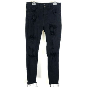 Express Jeans Black Mid-Rise Ripped Jeans